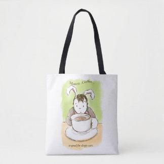 Sleepy Rabbit's First Coffee! Tote Bag