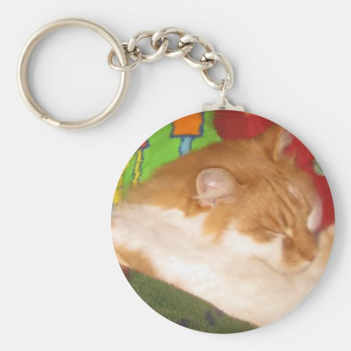 Sleepy Red Cat Key Chains