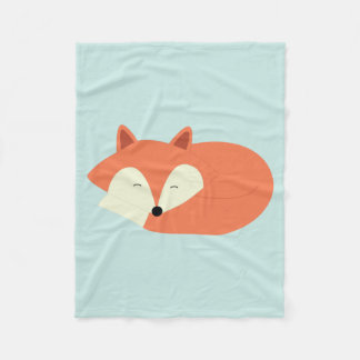 Sleepy Red Fox Fleece Blanket