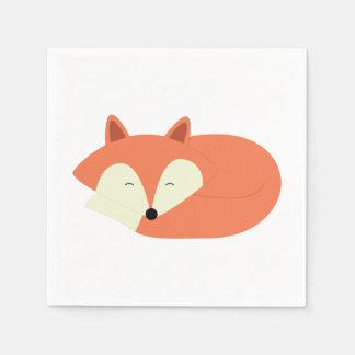 Sleepy Red Fox Paper Napkins