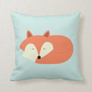 Sleepy Red Fox Throw Pillow