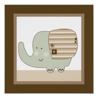 Sleepy Safari Elephant Wall Art Poster