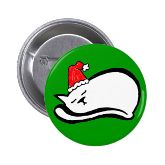 Sleepy Santa Cat Button customizable
