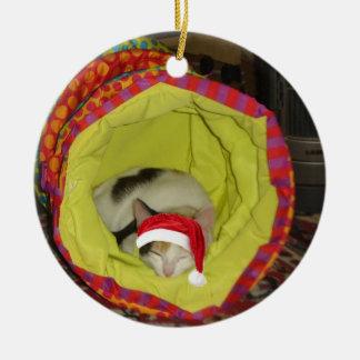 Sleepy Santa Cat Ceramic Ornament