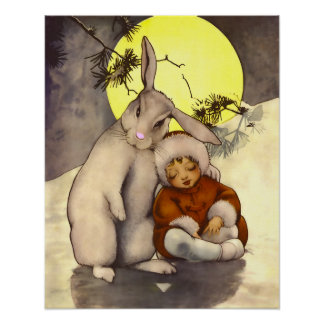 Sleepy Small Child with Bunny Nursery Poster