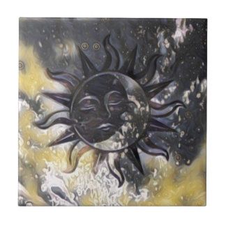 Sleepy Sun Moon Tile