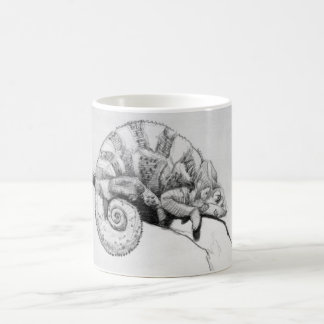 Sleepy the Chameleon in Black and White Coffee Mug