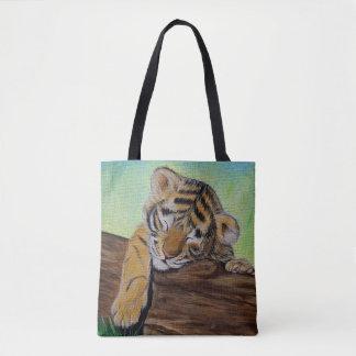 Sleepy Tiger Cub Tote Bag