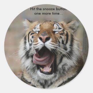 Sleepy Tiger Round Sticker