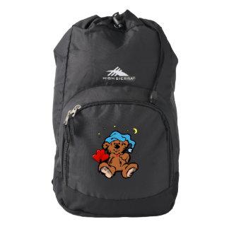 Sleepy Time Bear Blue Nightcap Red Hearts Backpack