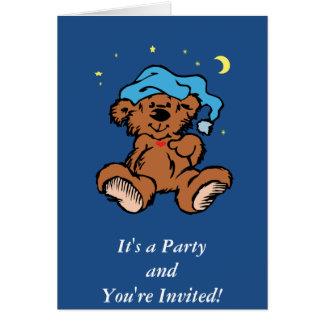 Sleepy Time Bear Moon and Stars Greeting Card