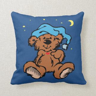 Sleepy Time Bear Moon and Stars Throw Pillow