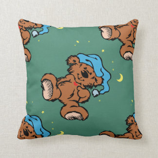 Sleepy Time Bear Moon and Stars Throw Pillows