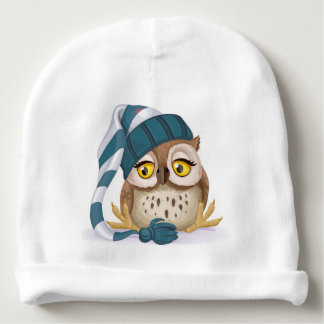 Sleepy Time Owl Baby Boy Baby Beanie