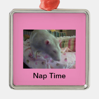 Sleepy Time Rat Silver-Colored Square Ornament
