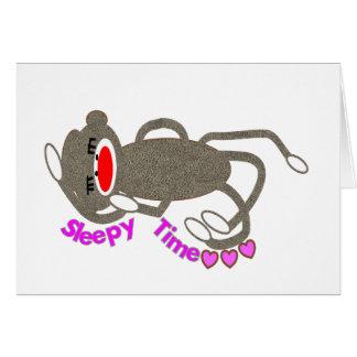 """Sleepy Time"" Sock Monkey Sleeping Card"