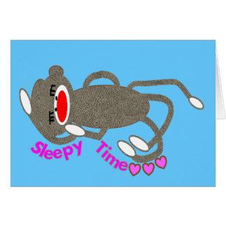 """Sleepy Time"" Sock Monkey Sleeping Greeting Card"