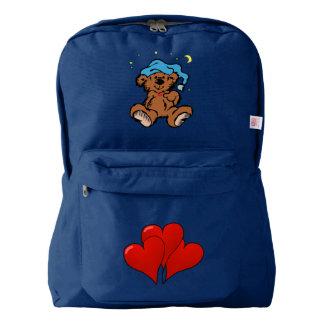 Sleepy Time Teddy Bear 3 Hearts Backpack