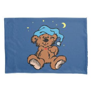 Sleepy Time Teddy Bear Blue Night Cap Pillowcase