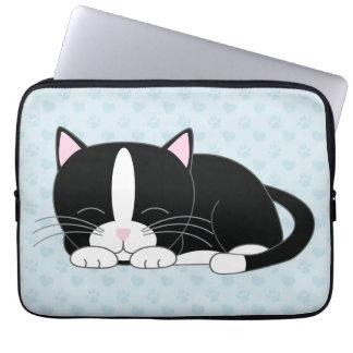 Sleepy Tuxedo Cat {blue} Laptop Sleeve