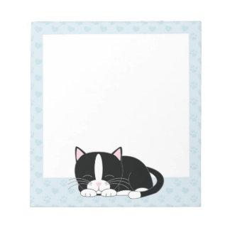 Sleepy Tuxedo Cat {blue} Notepad