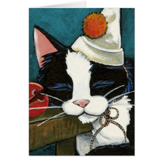 Sleepy Tuxedo Cat Clown Note Card
