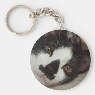Sleepy Tuxedo Cat Basic Round Button Keychain