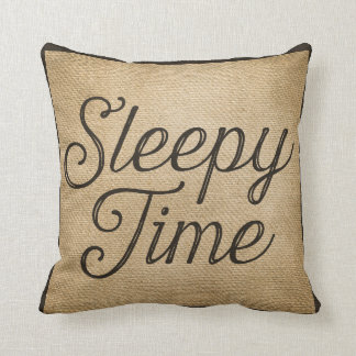 Sleepy Wakey Time Vintage Burlap Throw Pillows