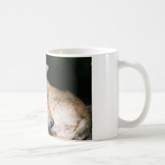 Sleepy wolf coffee mug
