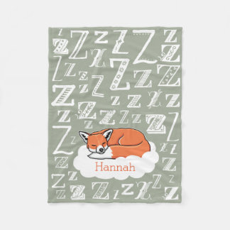 Sleepy Woodland Fox Zzz, Personalized Child's Name Fleece Blanket