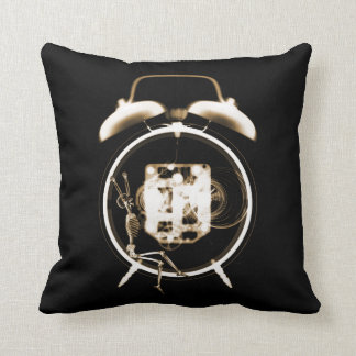 Sleepy X-Ray Skeleton on Alarm Clock -Orange Sepia Pillows
