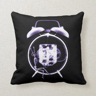 Sleepy X-Ray Skeleton on Alarm Clock - Purple Throw Pillows
