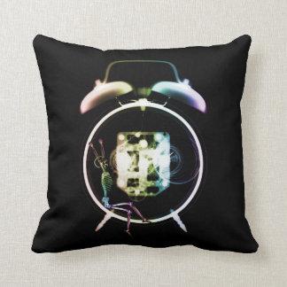Sleepy X-Ray Skeleton on Alarm Clock - Rainbow Pillows