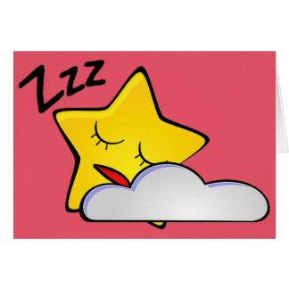 Sleepy Yellow Star Greeting Card