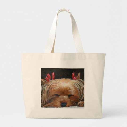 Sleepy Yorkie with Bows Pet Art Gifts Large Tote Bag