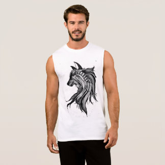 Sleeveless Black & White Magic Wolf Sleeveless Shirt