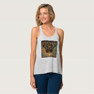 Sleeveless Long, Women's Black Butterfly T-Shirt