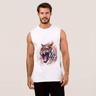 Sleeveless men's tiger with t-shirt design