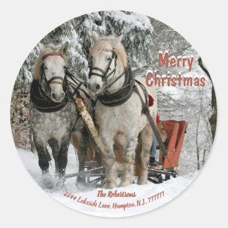Sleigh Bells Ring-Christmas Sticker-Return Address Classic Round Sticker