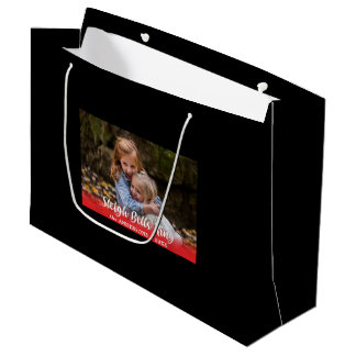Sleigh Bells Ring Family Photo Template Large Gift Bag