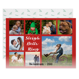 Sleigh Bells Ring Script Overlay Christmas Collage Card