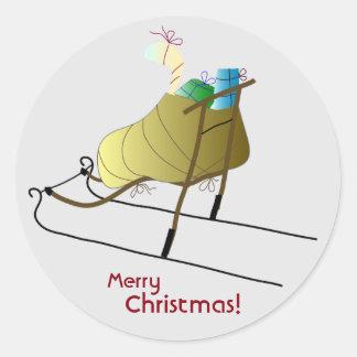 Sleigh Christmas Card Round Sticker