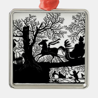 Sleigh_Ride_Silhouette Metal Ornament