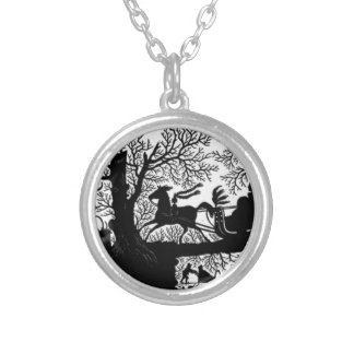 Sleigh_Ride_Silhouette Silver Plated Necklace