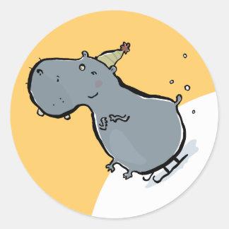 sleigh riding hippo classic round sticker