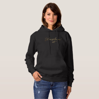 Sleighin' it Faux Gold Foil Christmas Black hoodie