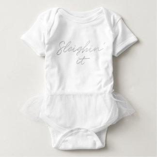 Sleighin' it Faux Silver Foil Christmas Baby Tutu Baby Bodysuit