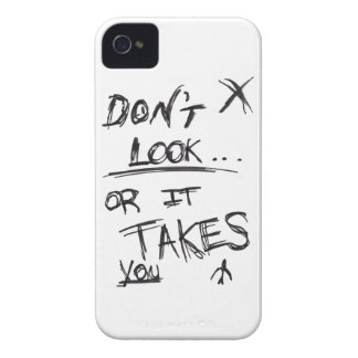 Slender: Dont Look Black on White iPhone 4 Case-Mate Cases