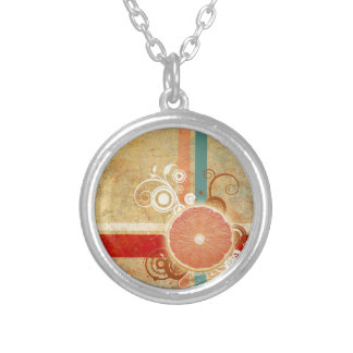 Slice of Citrus Abstract Silver Plated Necklace