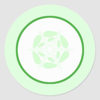 Slice of Cucumber. Green and White. Round Sticker